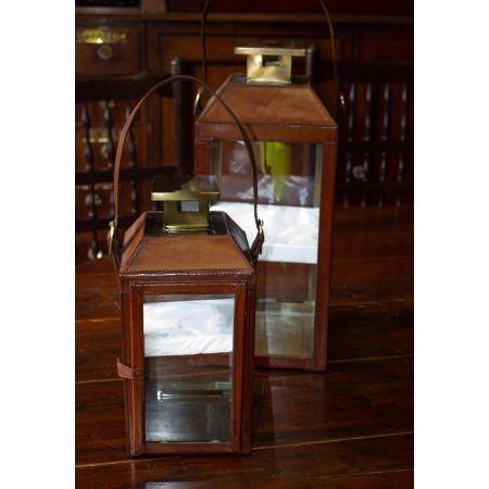 Brass and leather lantern set