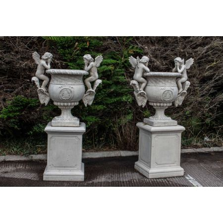 Pair Versailles Cherub Urn With Plinth