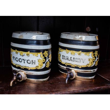 Pair of ceramic dispensers Scotch & Brandy