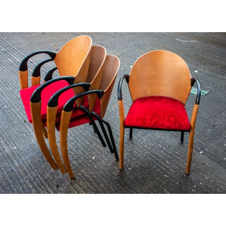 Stocking armchair with red uphol seat