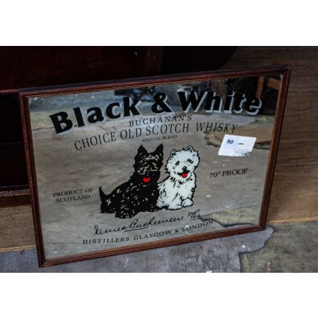 Black and white whiskey pub mirror