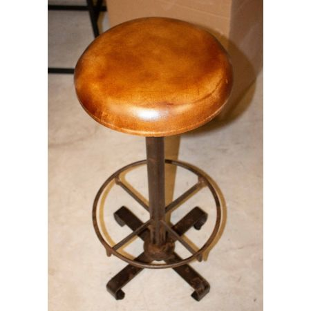 Tan leather industrial stools