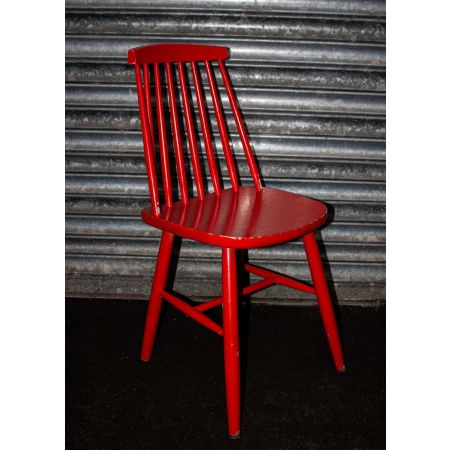 Red spindle chair