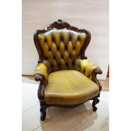 Green leather victorian mahogany armchair