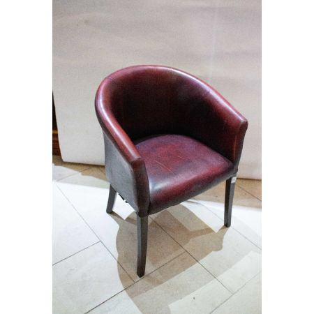 Red hide tub chair