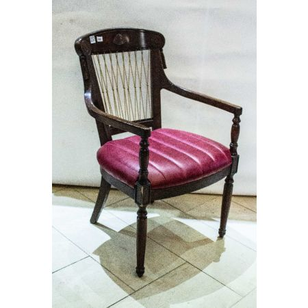 Rope back armchair with leather upholstered seat