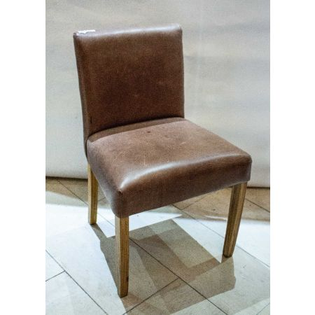 Pair of tan leather side chairs