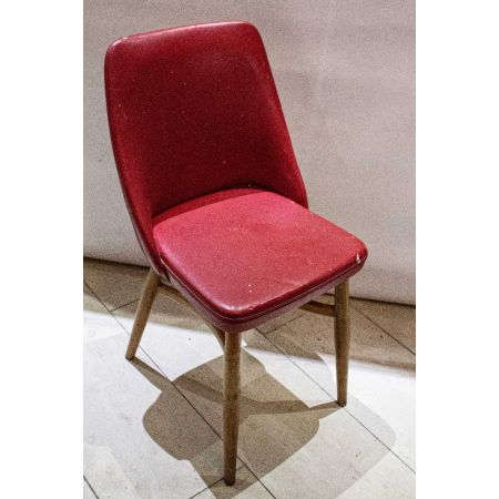 Red hide uphol side chair