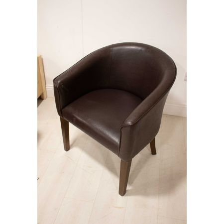 BROWN HIDE TUB CHAIR