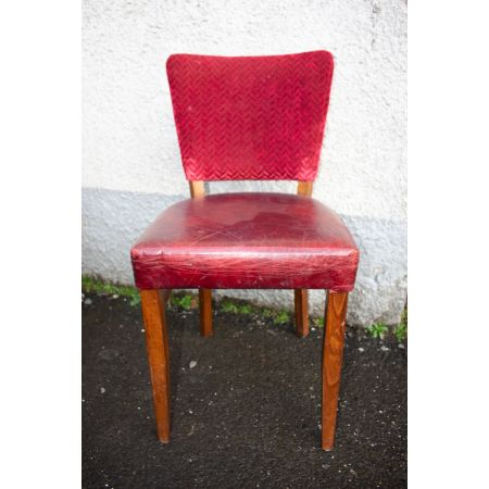Red leather/ fabric side chair