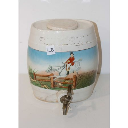 Ceramic dispenser with horse jumping scene