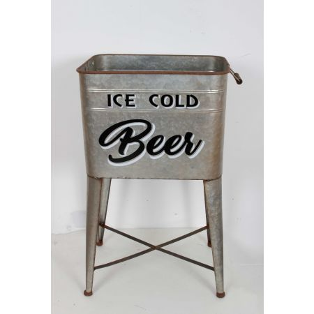 """""""Ice cold beer"""" free standing ice bucket"""