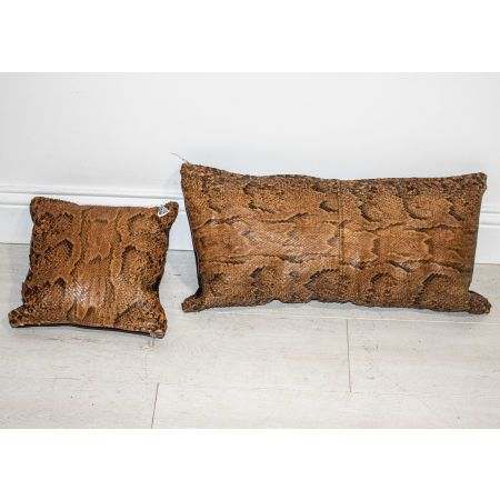Pair of snake skin leather cushions