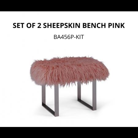 Set of 2 Sheepskin Bench Pink *FLASH SALE ENDS 10.09*