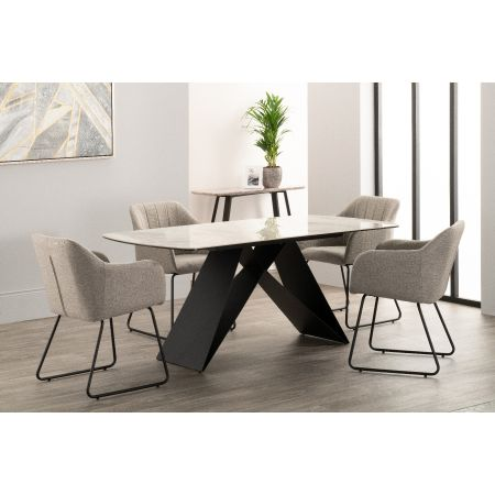 Reva Dining Table + 6 Chairs Grey