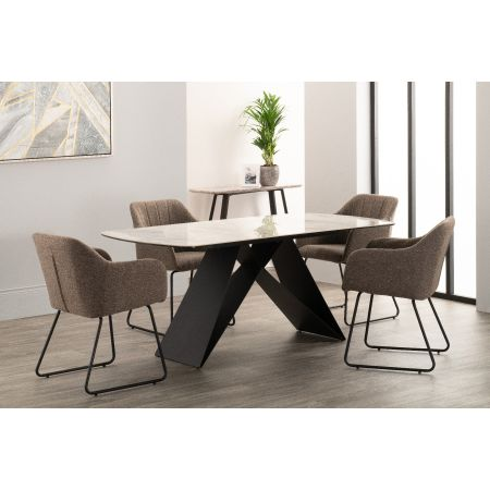 Reva Dining Table + 4 Chairs Charcoal