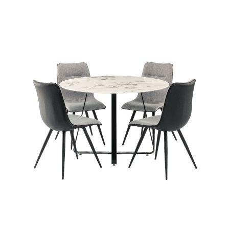 Mia Dining Table + 4 Nuna Chairs - Grey