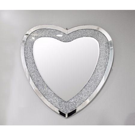 Crackle Heart Mirror