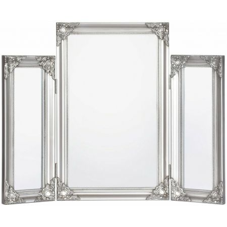 Charlotte Dressing Table Mirror-Antique Silver 70x55cm  (Set of 4)