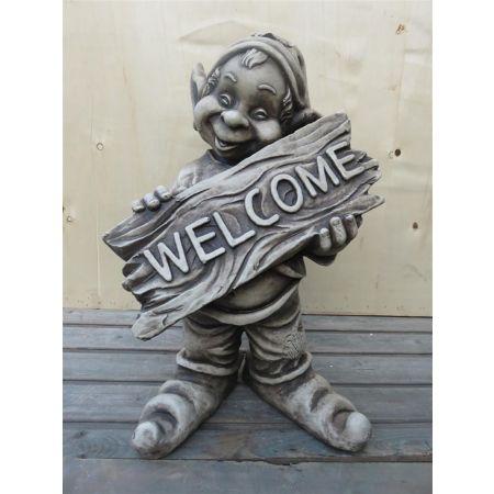 Welcome Smiley Garden Gnome