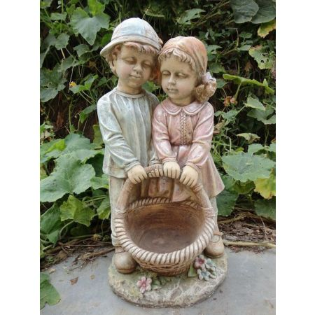 Boy & Girl Together with Basket