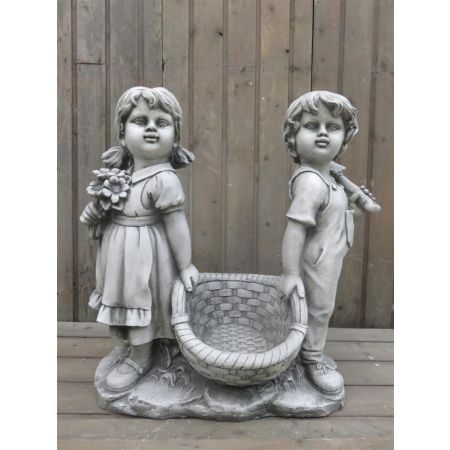 Boy & Girl Carrying Basket