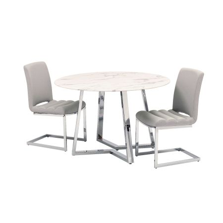 Storm Dining Table + 4 Chairs - Grey