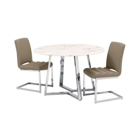 Storm Dining Table + 4 Chairs - Taupe