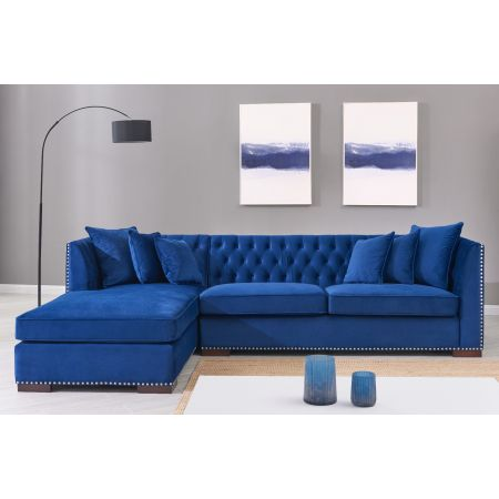 Royal Blue Chesterfield Corner Suite - Left