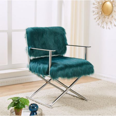 Faux Sheepskin Directors Chair-Teal