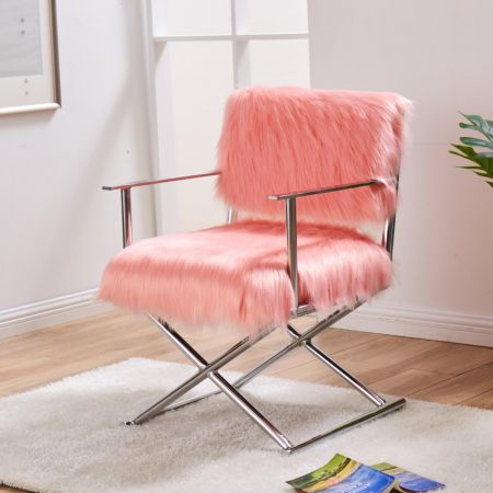 Faux Sheepskin Directors Chair-Pink