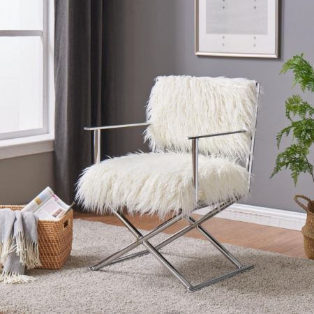 Faux Sheepskin Directors Chair-White