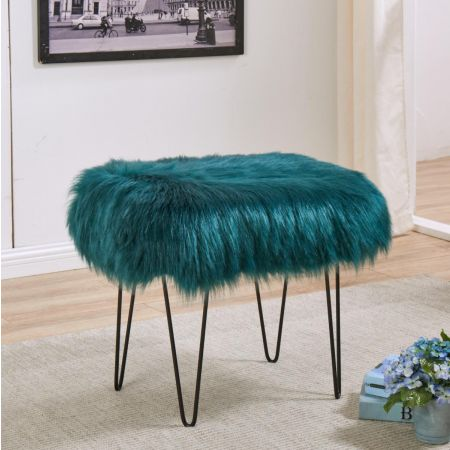 Faux Sheepskin Dressing Table Stool-Teal
