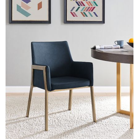 Leigh Armchair - Night Blue Faux Leather