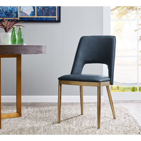 Morgan Dining Chair - Night Blue Faux Leather