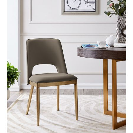 Morgan Dining Chair - Taupe Faux Leather (Set of 2)