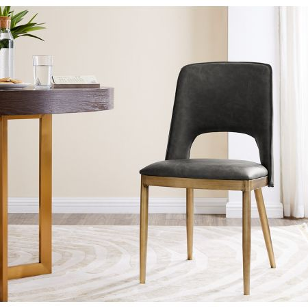 Morgan Dining Chair - Vintage Grey Faux Leather (Set of 2)