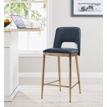 Morgan Barstool - Night Blue Faux Leather