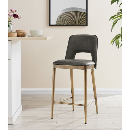 Morgan Barstool - Vintage Grey Faux Leather