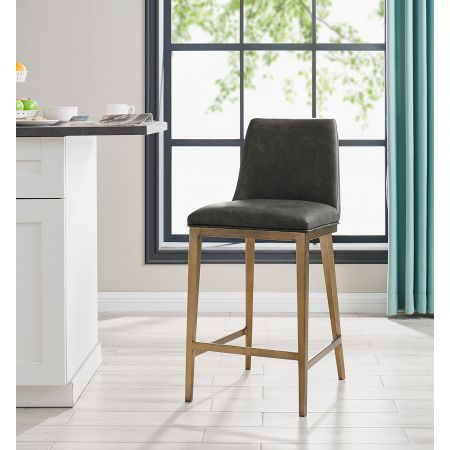 Bay Barstool - Vintage Grey Faux Leather