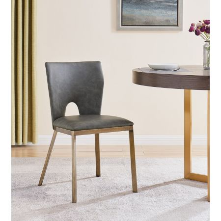 Ella Dining Chair - Vintage Grey Faux Leather